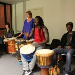 Ousmane drumming for dance class