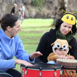 Kids join in with the drumming at Run with the Rhythm