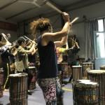 Mitzi teaching dundun dance in China