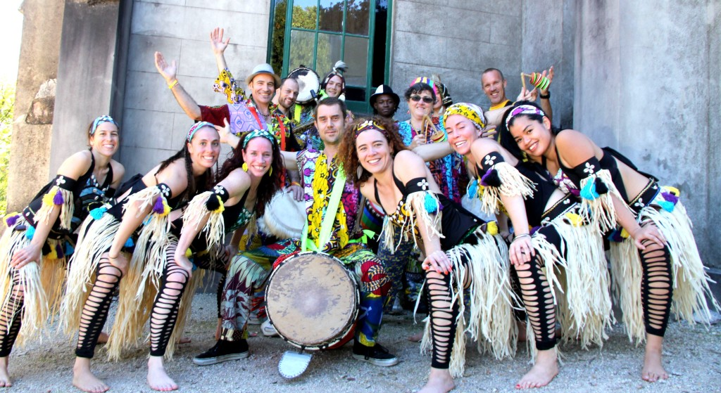 Drummers and dancers posing for a photo at Beechworth festival