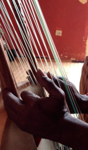African hands playing strings of kora
