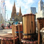 Stck of African stick drums piled in Melbourne CBD