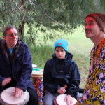 Djembe students and Simon Lewis at Run with the Rhythm